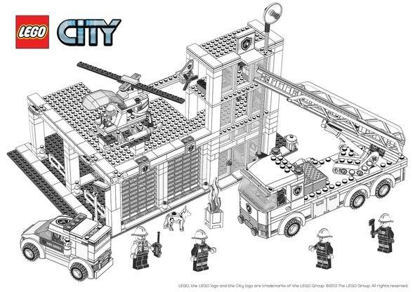 Coloriage Lego City La Caserne Des Pompiers Coloriage Lego City