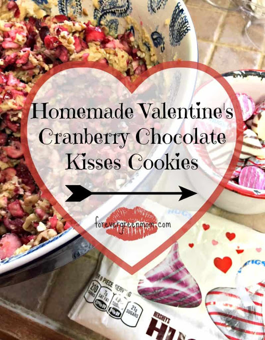 Valentine's Cranberry Chocolate Kisses Cookies