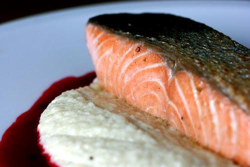 Salmon with cauliflower puree and redcurrant sauce
