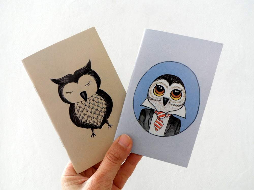 Mini Journal Set of 2, Owl   illustrations, gift for him dudes