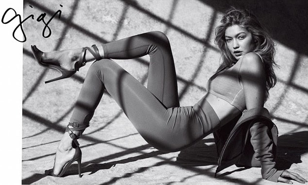 Kanye-approved: In another volume of the issue, Gigi poses in an ensemble from Kanye West's second Yeezy collection