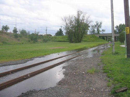Flooded train tracks, Jersey City