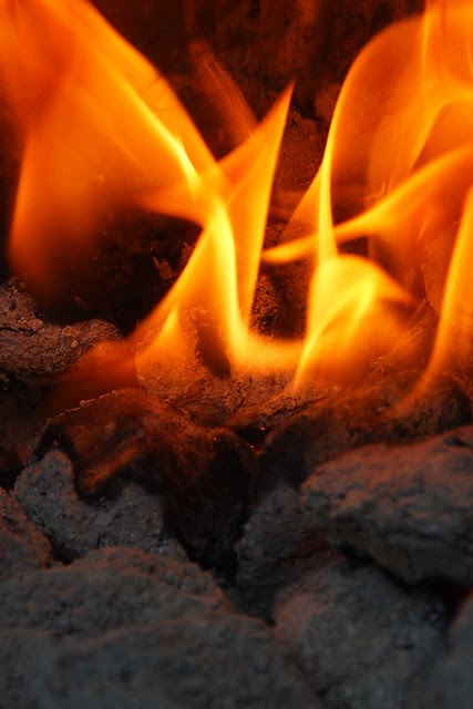 A close-up of fire.