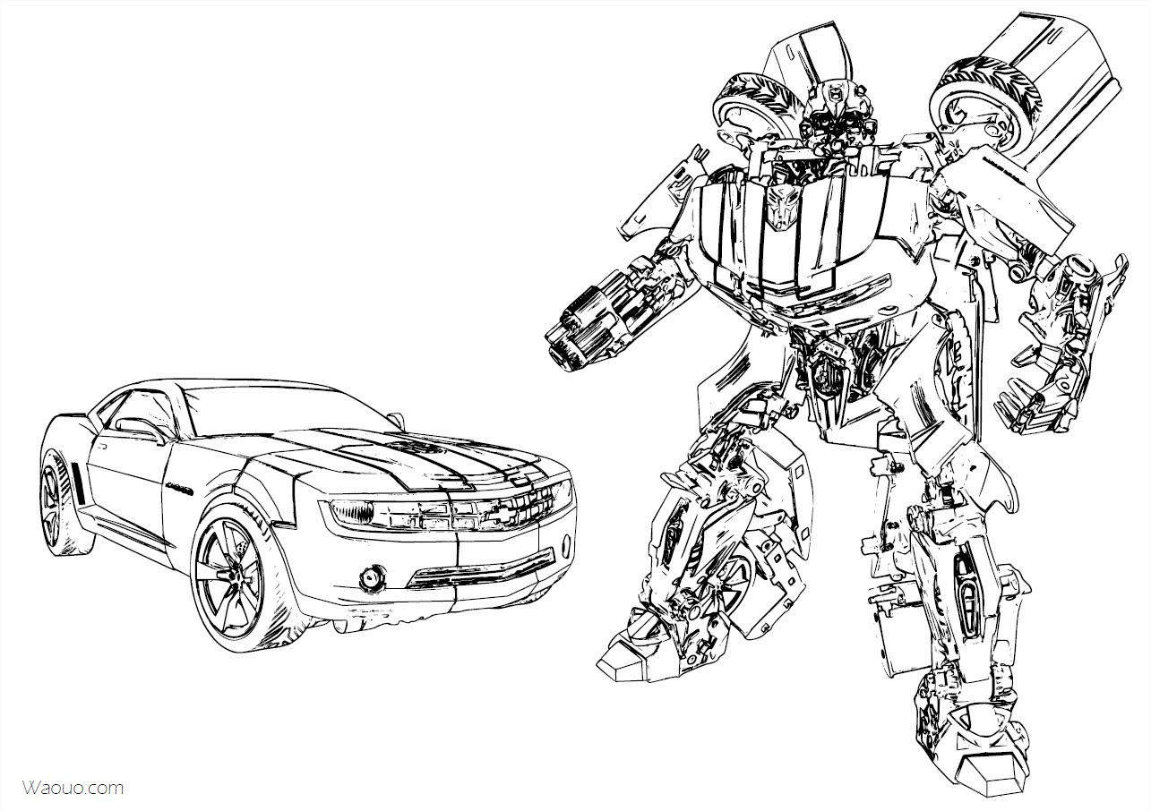 Coloriage Bumblebee Transformers Chevrolet Camaro à Imprimer