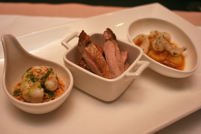 Langoustine with sofrito and migas, quail with foie gras escabeche, and razor clam stew