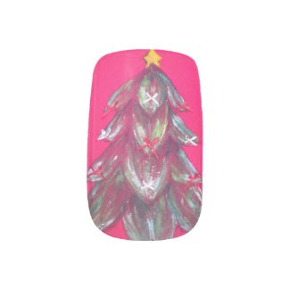 ugly christmas tree red nail decals