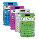 Datexx Dh-60-C Ice Color Dual Power Handheld Calculator -PACK 24