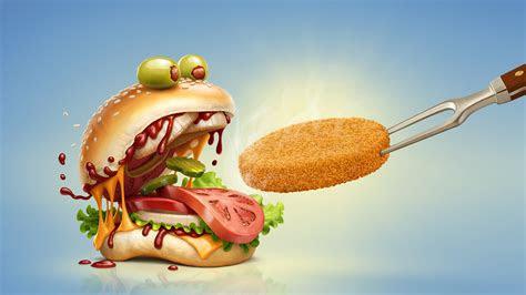 wallpaper burger monster tasty cgi  creative graphics  wallpaper  iphone