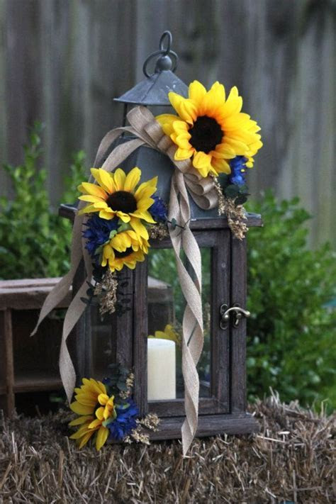 Rustic Sunflower & Navy Candle Lanterns Custom Order for
