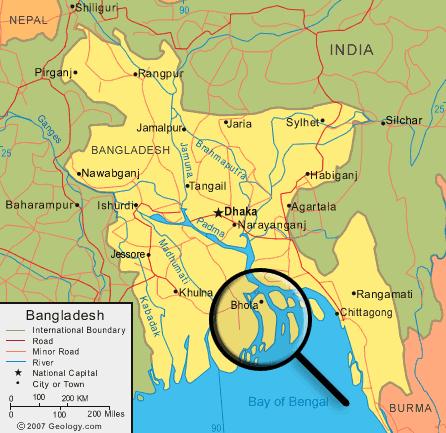 Map of Bhola Island Bangladesh