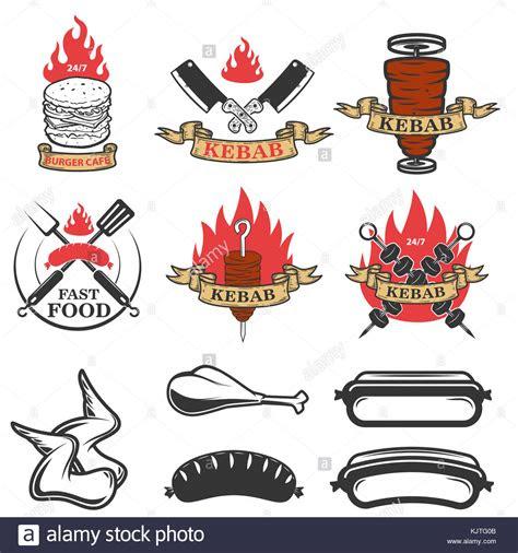 set  fast food emblems  design elements doner kebab