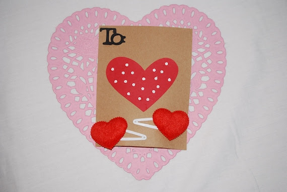 Valentine's Day Card with Heart Barrettes