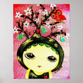 Cute Girl - She Grows A Tree print