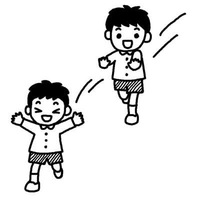 鬼ごっこ1外遊び保育無料白黒イラスト素材
