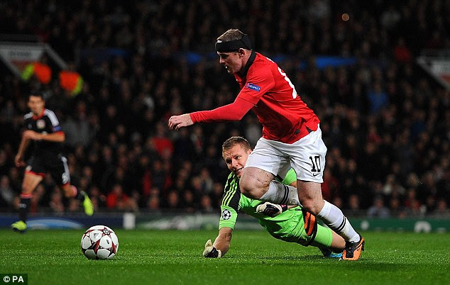 It all started so well: Rooney goes around Leverkusen keeper Leno during the second half