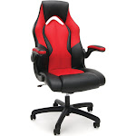 Essentials by OFM ESS-3086 - Chair - armrests - L-shaped - tilt - swivel - SofThread leather - red