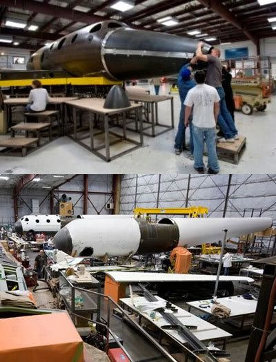 SpaceShipTwo and White Knight II undergoing construction at the Scaled Composites facility.