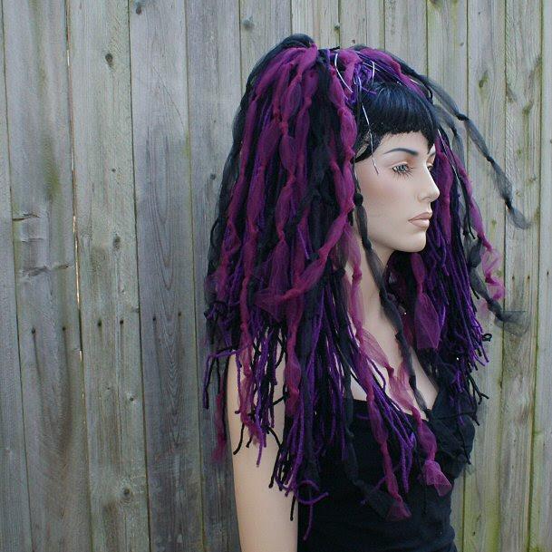 Burgundy Black Goth Knotty Dread Hair Falls EMO Gothic | eBay