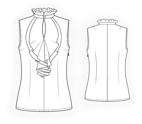 sleeveless blouse  frilled front sewing pattern