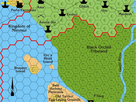 Dragon 196 Black Orchid Tribelands, 8 miles per hex | Atlas of Mystara