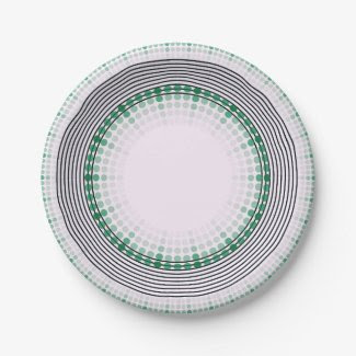 Paper Plates with Green Design for Summer Meals 7 Inch Paper Plate