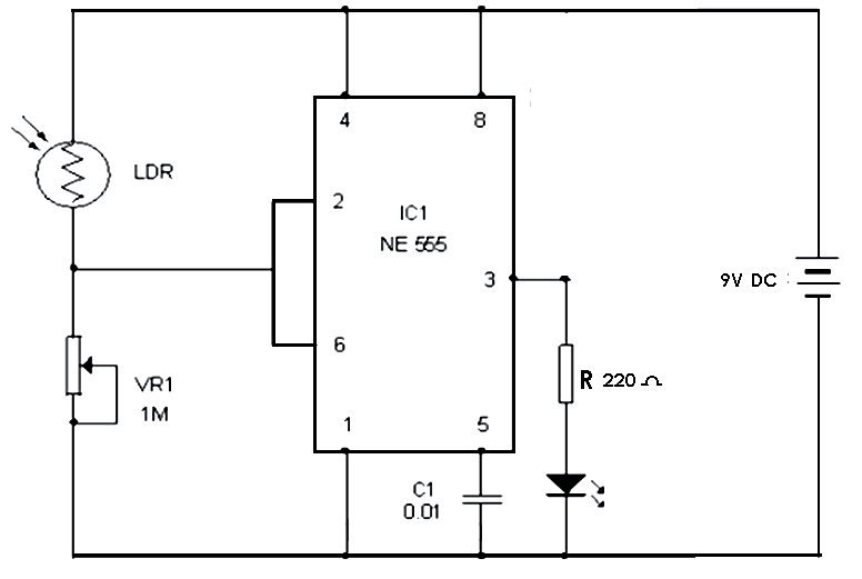 555 Timer IC Project ideas: Automatic Street Light 555