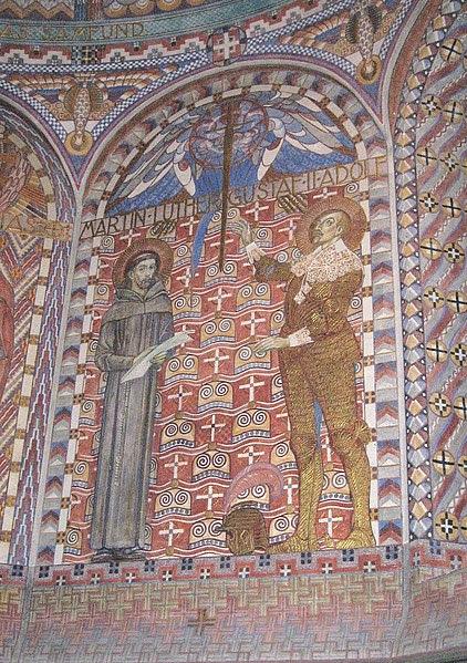 Arkiv: Uppenbarelsekyrkan, Saltsjöbaden, kor (Luther, Gustav II Adolf) .JPG