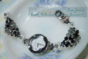 White Pearl and Black Crystal Watchband