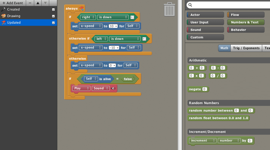 Build game logic without coding using our Scratch-inspired block builder.