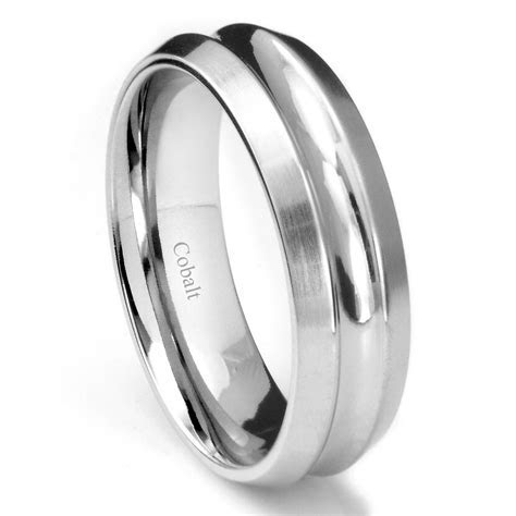 Cobalt XF Chrome 8MM Concave Wedding Band Ring w/ Beveled