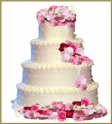 Four-layer white cake artistically layered with three shades of pink flowers