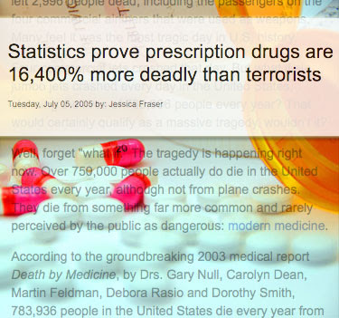Source: NaturalNews.com article by Jessica Fraser - Prescription Drugs Kill More Than Terrorism. Background image Wikimedia commons, public domain.