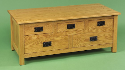 wood coffee table with many drawers