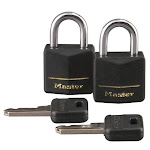 Master Lock 121T 2 Count .75 in. Black Vinyl Cover Brass Padlock