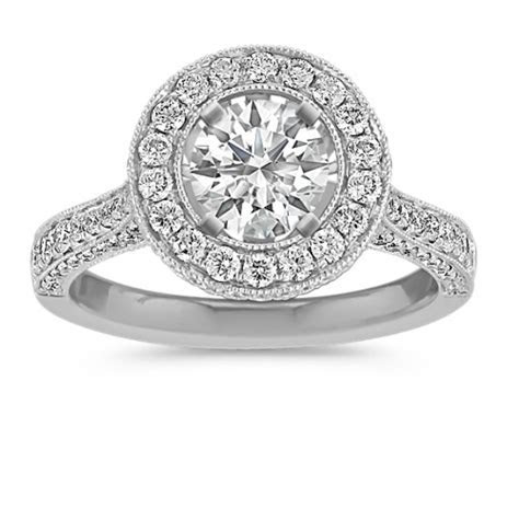 Crown Halo Diamond Engagement Ring with Pavé Setting