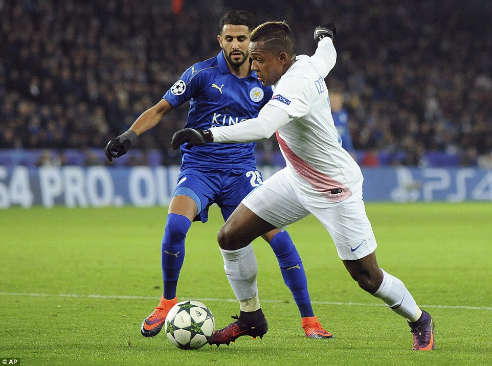 Jose Izquierdo takes on Riyad Mahrez of Leicester during the second half at the home of the Premier League champions