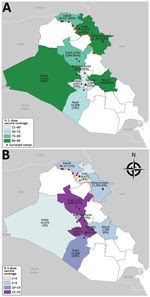 Thumbnail of Location of camps and collective centers where persons were surveyed and vaccinated during a cholera outbreak and humanitarian crisis, Iraq, 2015. Numbers indicate targeted population; estimated 2-dose (A) and 1-dose (B) oral cholera vaccine coverages are shown in parentheses. White indicates governorates where surveys and vaccination were not conducted; black outlining indicates governorates; red line indicates border between the northern region and the southern and central regions