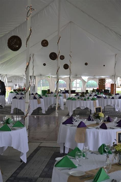 Burlap Runners, Wicker Balls and Grapevine for tent decor