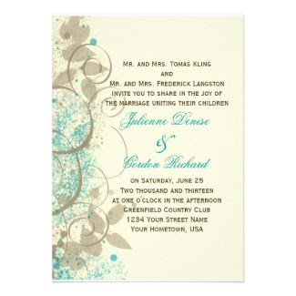 Teal Tan Grunge Swirls Leaves Wedding Invitation