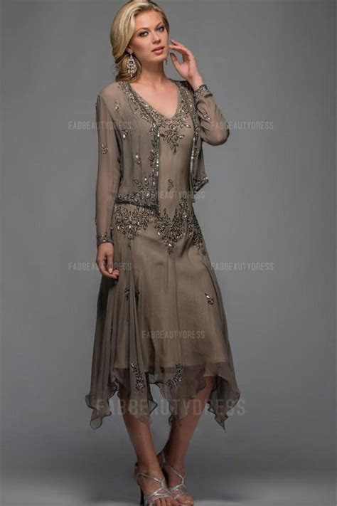 Sheath/Column V neck Tea length Asymmetrical Chiffon