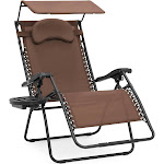 Best Choice Products Oversized Zero Gravity Reclining Lounge Patio Chairs w/ Folding Canopy Shade and Cup Holder (Brown)