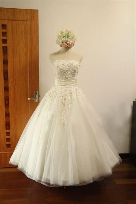 Vintage Retro Tulle Lace Flower Wedding Dress Bridal Gown