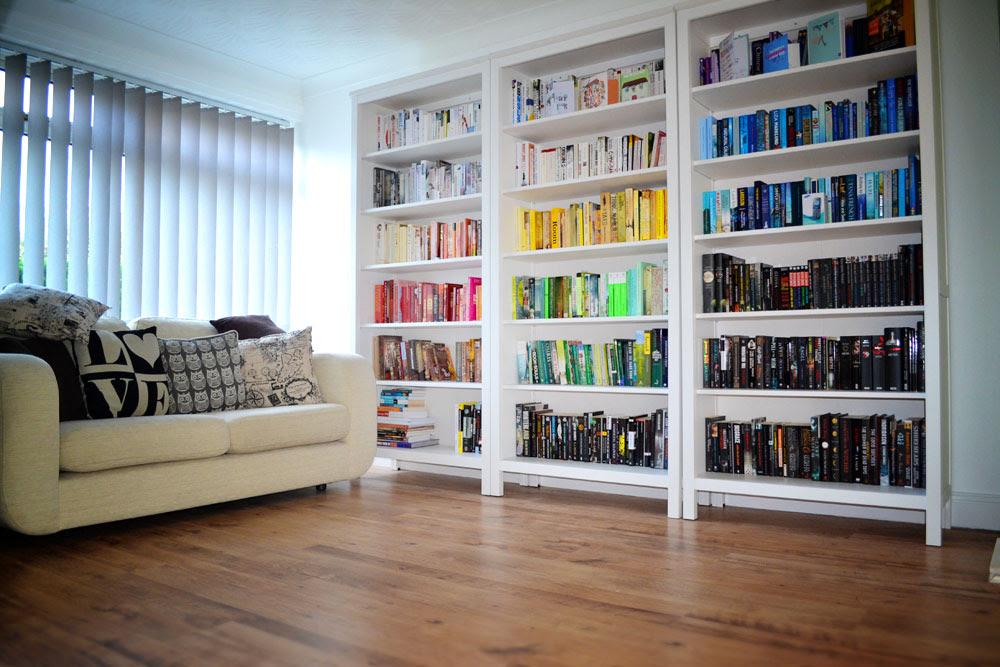 Colour co ordinated bookshelves