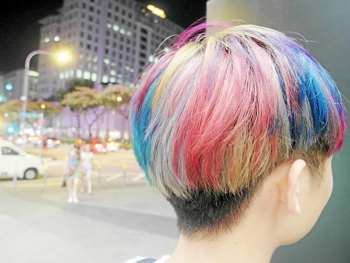 back of rainbow hair