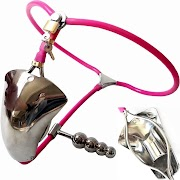 NEW  Super Invisible Male T Style Adjustable Stainless Steel Chastity Belt W Cock Penis Cage Anal Plug A
