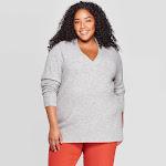 Women's Plus Size Oversized Long Sleeve V-Neck Tunic Sweater - A New Day Light Heather Gray 3X, Size: 3XL, Light Grey Gray