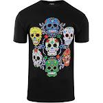 ShirtBANC Brand Colorful Sugar Skulls Shirt Day Of The Dead Tee Rockabilly (Sugar Skull Colors