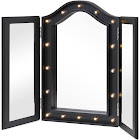 Best Choice Products Lit Tabletop Tri-Fold Vanity Mirror with LED Lights, Black