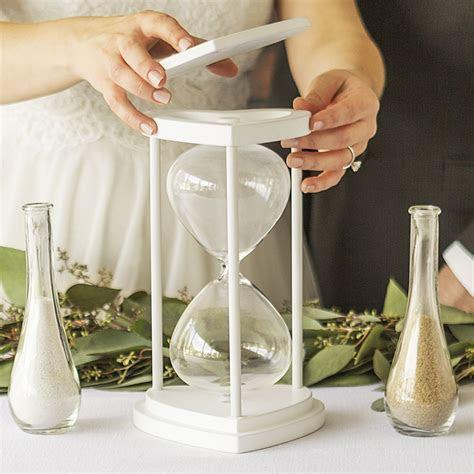 Unity Sand Ceremony Set   Floral Design White Hourglass