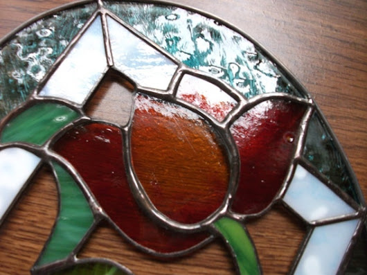 TULIP In The RAIN Stained Glass Large SUNCATCHER Home Decor Window Dreaming